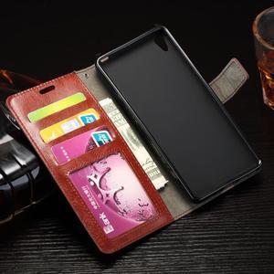 Horss PU kožené pouzdro na Sony Xperia E5 - hnědé - 5