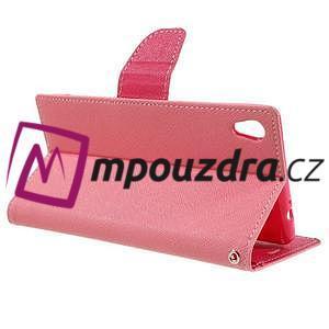 Diary PU kožené pouzdro na mobil Sony Xperia XA Ultra - růžové - 5