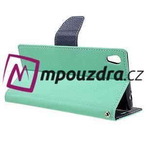 Diary PU kožené pouzdro na mobil Sony Xperia XA Ultra - azurové - 5