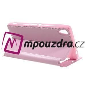Richi PU kožené pouzdro s okýnkem na Sony Xperia XA Ultra - růžové - 5