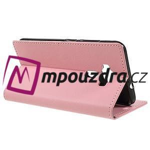 Leathy peněženkové pouzdro na Asus Zenfone 3 ZE520KL - růžové - 5