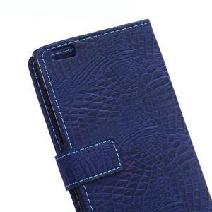 Croco style peněženkové pouzdro na BlackBerry Leap - tmavěmodré - 5