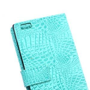 Croco style peněženkové pouzdro na BlackBerry Leap - cyan - 5
