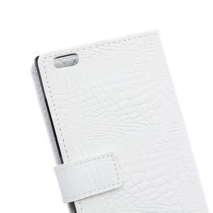 Croco style peněženkové pouzdro na BlackBerry Leap - bílé - 5