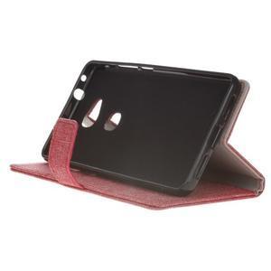 Textilní/koženkové pouzdro na Honor 5X - červené - 5