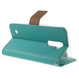 Style PU kožené pouzdro pro LG K10 - zelenomodré - 5