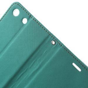 Wall PU kožené pouzdro na mobil Sony Xperia M5 - zelenomodré - 5