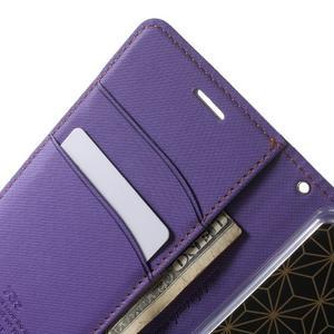 Wall PU kožené pouzdro na mobil Sony Xperia M5 - fialové - 5
