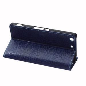 Peněženkové pouzdro s texturou krokodýlí kůže na Sony Xperia M5 - tmavědmodré - 5