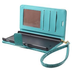 Croco peněženkové pouzdro na mobil Sony Xperia M5 - modré - 5