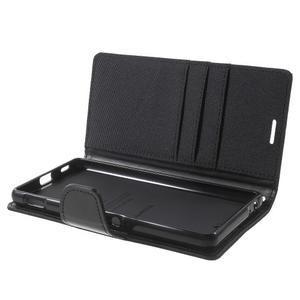 Canvas PU kožené / textilní pouzdro na Sony Xperia M5 - černé - 5