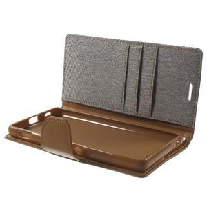 Canvas PU kožené / textilní pouzdro na Sony Xperia M5 - šedé - 5