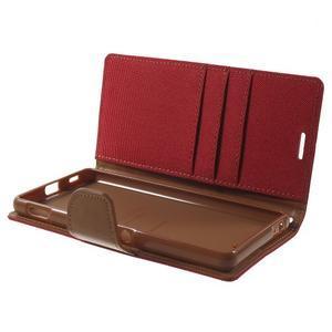 Canvas PU kožené / textilní pouzdro na Sony Xperia M5 - červené - 5