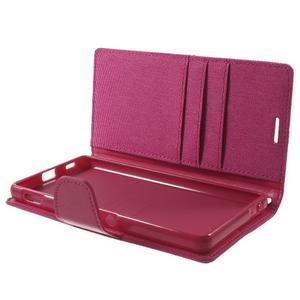 Canvas PU kožené / textilní pouzdro na Sony Xperia M5 - rose - 5