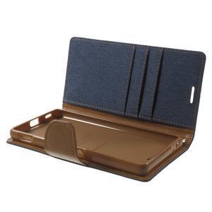 Canvas PU kožené / textilní pouzdro na Sony Xperia M5 - tmavěmodré - 5