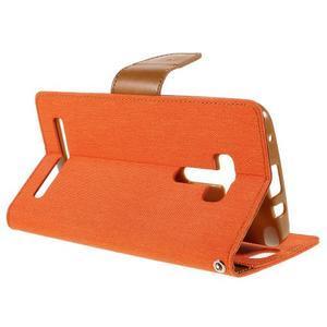 Canvas PU kožené/textilní pouzdro na Asus Zenfone Selfie ZD551KL - oranžové - 5