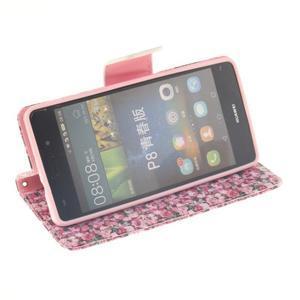 Leathy PU kožené pouzdro na Huawei P8 Lite - růže - 5