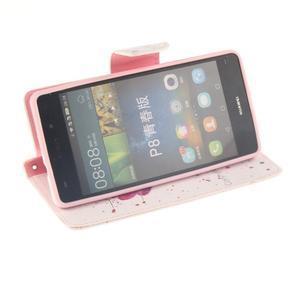 Leathy PU kožené pouzdro na Huawei P8 Lite - makový květ - 5