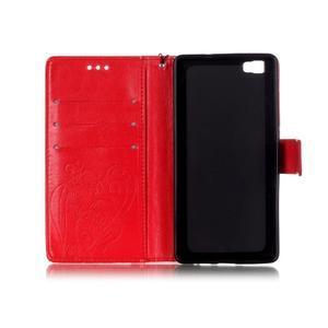 Magicfly PU kožené pouzdro na Huawei P8 Lite - červené - 5