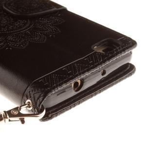Mandala PU kožené pouzdro na mobil Huawei P8 Lite - černé - 5