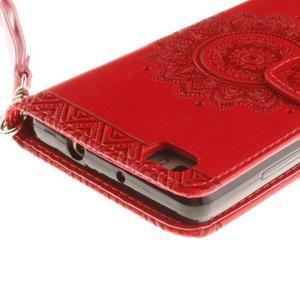 Mandala PU kožené pouzdro na mobil Huawei P8 Lite - červené - 5