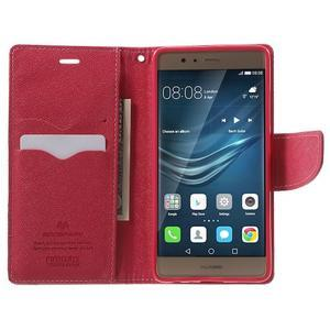 Diary PU kožené pouzdro na mobil Huawei P9 - růžové - 5
