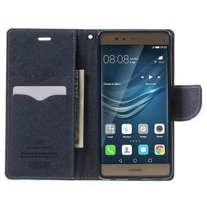 Diary PU kožené pouzdro na mobil Huawei P9 - azurové - 5