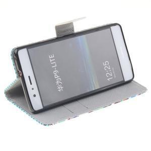 Knížkové PU kožené pouzdro na Huawei P9 Lite - geo tvary - 5