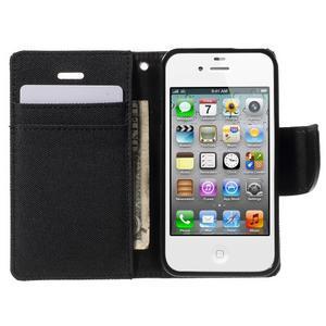 Canvas PU kožené/textilní pouzdro na iPhone 4 - černé - 5