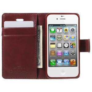 Moon PU kožené pouzdro na mobil iPhone 4 - vínové - 5