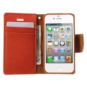 Canvas PU kožené/textilní pouzdro na iPhone 4 - oranžové - 5