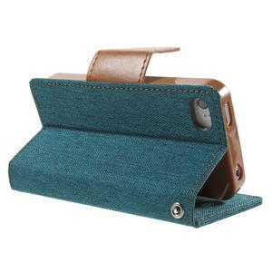 Canvas PU kožené/textilní pouzdro na iPhone 4 - zelenomodré - 5