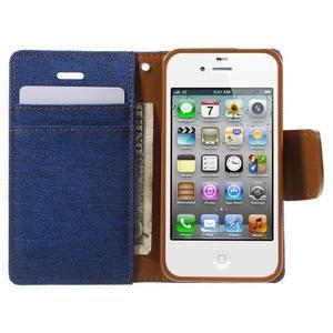 Canvas PU kožené/textilní pouzdro na iPhone 4 - modré - 5