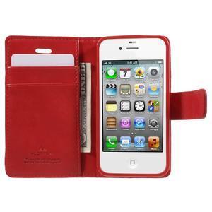Moon PU kožené pouzdro na mobil iPhone 4 - červené - 5