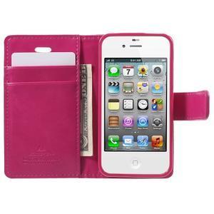 Moon PU kožené pouzdro na mobil iPhone 4 - rose - 5