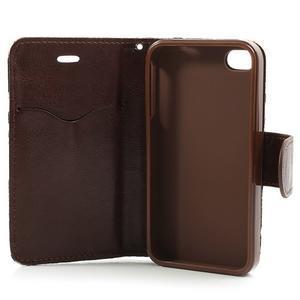 Elegantní PU kožené pouzdro na iPhone 4 - modré pozadí - 5