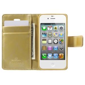 Moon PU kožené pouzdro na mobil iPhone 4 - zlaté - 5