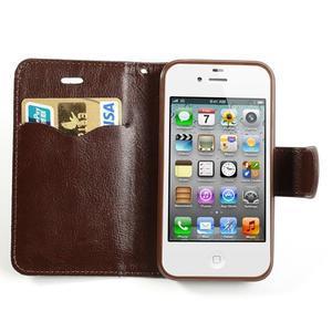 Jeans peněženkové pouzdro na iPhone 4 - černomodré - 5
