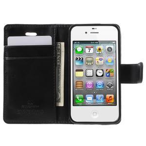 Moon PU kožené pouzdro na mobil iPhone 4 - černé - 5