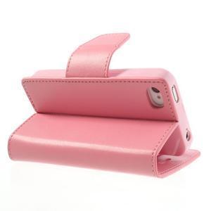 Diary PU kožené knížkové pouzdro na iPhone 4 - růžové - 5