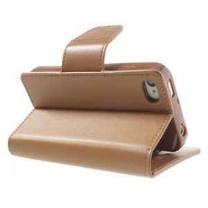 Diary PU kožené knížkové pouzdro na iPhone 4 - hnědé - 5
