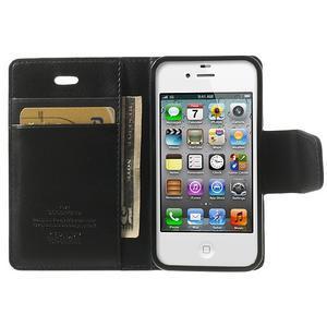 Diary PU kožené knížkové pouzdro na iPhone 4 - černé - 5