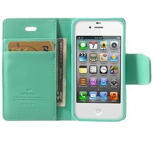 Diary PU kožené knížkové pouzdro na iPhone 4 - azurové - 5