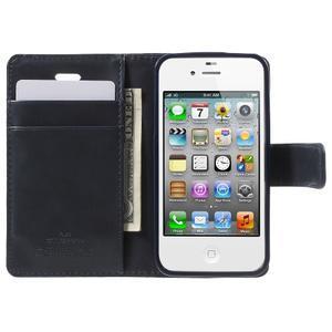 Moon PU kožené pouzdro na mobil iPhone 4 - tmavěmodré - 5