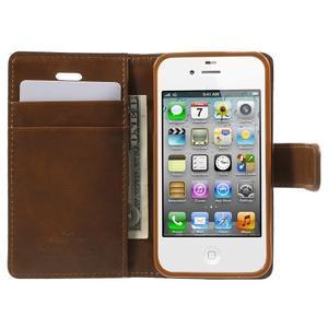 Moon PU kožené pouzdro na mobil iPhone 4 - hnědé - 5