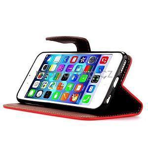 PU kožené peněženkové pouzdro pro iPhone 6s a 6 - červené - 5