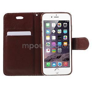 Elegantní květinové peněženkové pouzdro na iPhone 6 a 6s - červenohnědé - 5