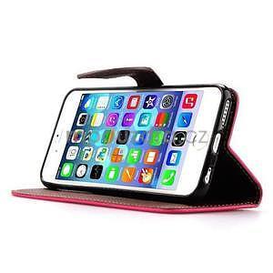 PU kožené peněženkové pouzdro pro iPhone 6s a 6 - rose - 5