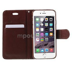 Elegantní květinové peněženkové  pouzdro na iPhone 6 a 6s - tyrkysové - 5