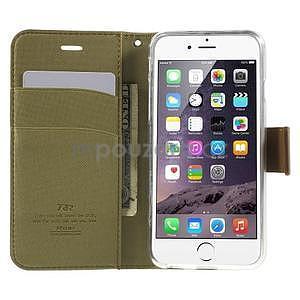 Peněženkové koženkové pouzdro na iPhone 6s a 6 - khaki - 5